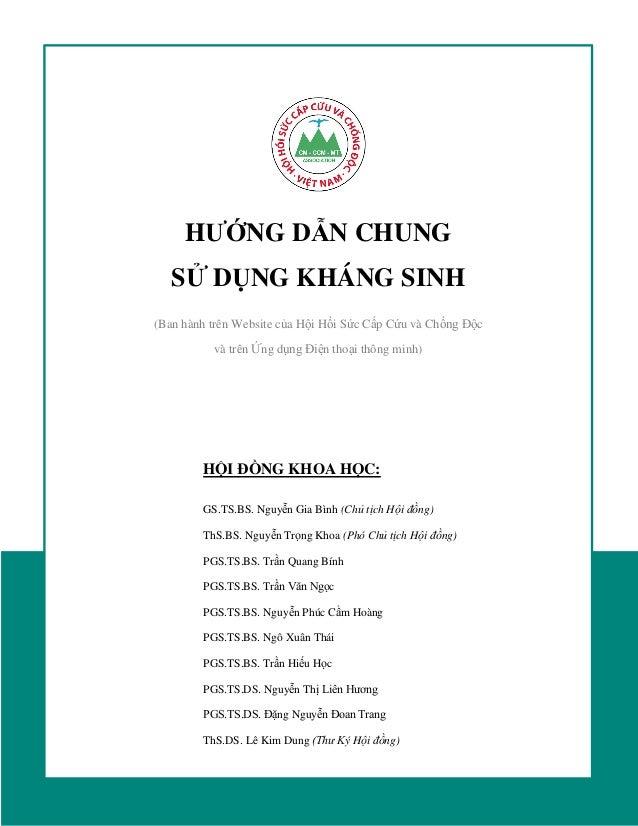 HƯỚNG DẪN CHUNG SỬ DỤNG KHÁNG SINH (Ban hành trên Website của Hội Hồi Sức Cấp Cứu và Chống Độc và trên Ứng dụng Điện thoại...