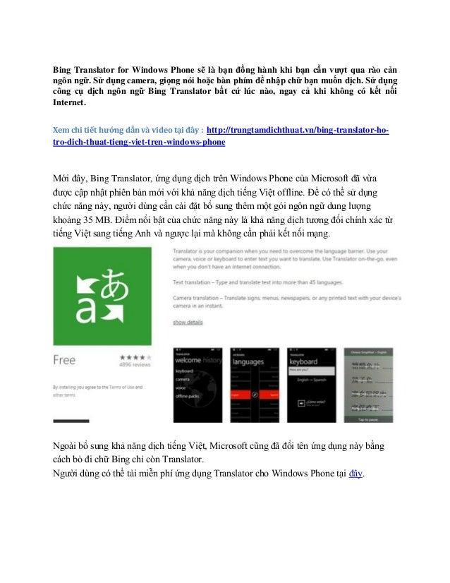 Hướng dẫn dịch thuật và sử dụng các tính năng của Bing Translator hiệ…