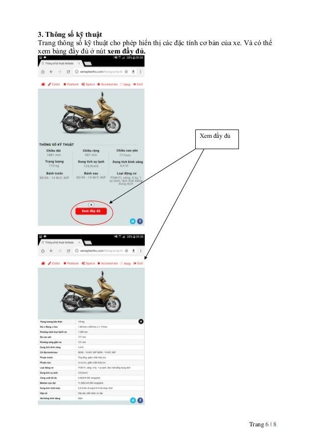 Trang 6   8 3. Thông số kỹ thuật Trang thông số kỹ thuật cho phép hiển thị các đặc tính cơ bản của xe. Và có thể xem bảng ...