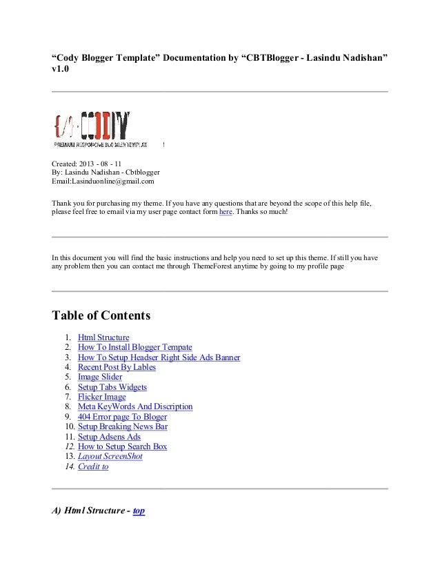 """Cody Blogger Template"" Documentation by ""CBTBlogger v1.0 Created: 2013 - 08 - 11 By: Lasindu Nadishan - Cbtblogger Email:..."
