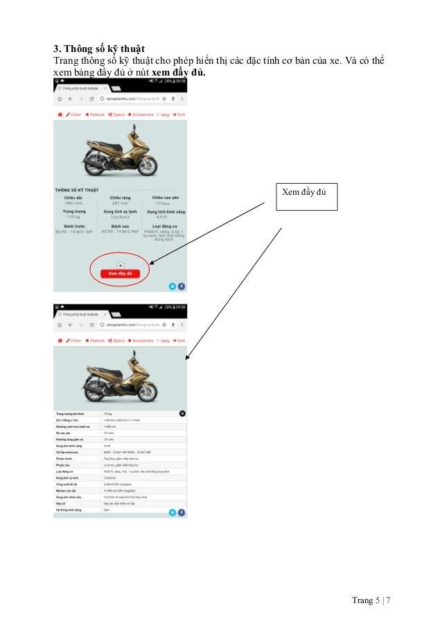 3. Thông số kỹ thuật Trang thông số kỹ thuật cho phép hiển thị các đặc tính cơ bản của xe. Và có thể xem bảng đầy đủ ở nút...