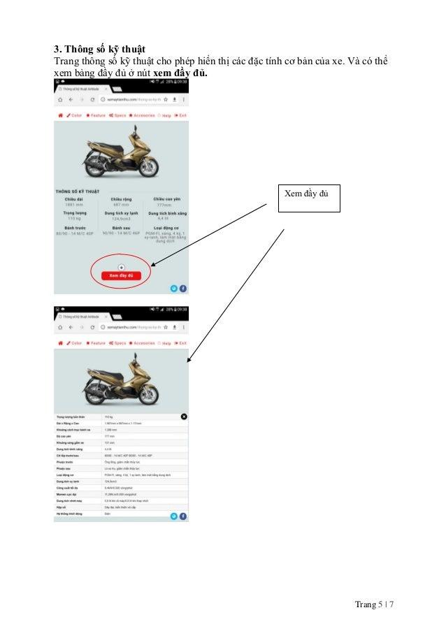 Trang 5 | 7 3. Thông số kỹ thuật Trang thông số kỹ thuật cho phép hiển thị các đặc tính cơ bản của xe. Và có thể xem bảng ...