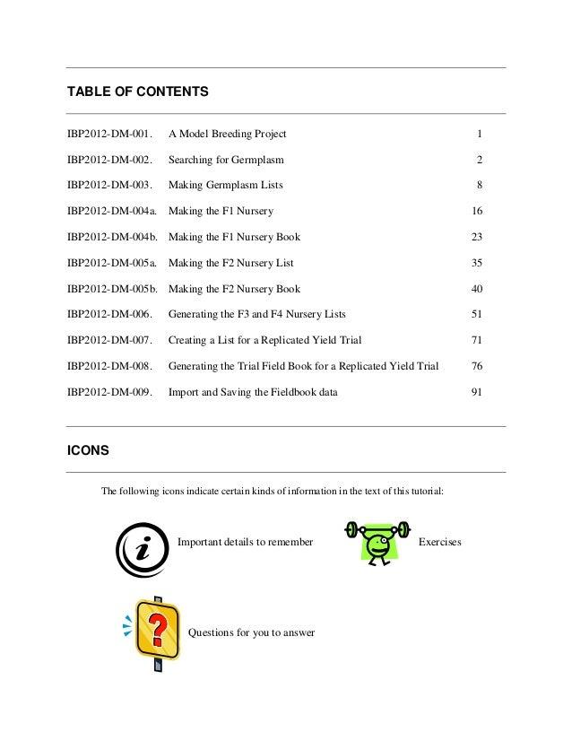TABLE OF CONTENTSIBP2012-DM-001.        A Model Breeding Project                                                    1IBP20...