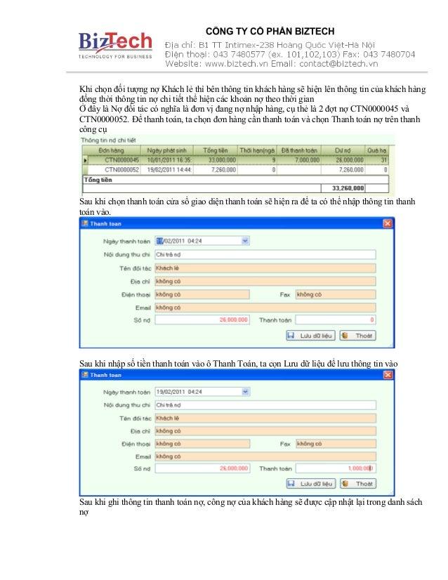 Khi chọn đối tượng nợ Khách lẻ thì bên thông tin khách hàng sẽ hiện lên thông tin của khách hàng đồng thời thông tin nợ ch...