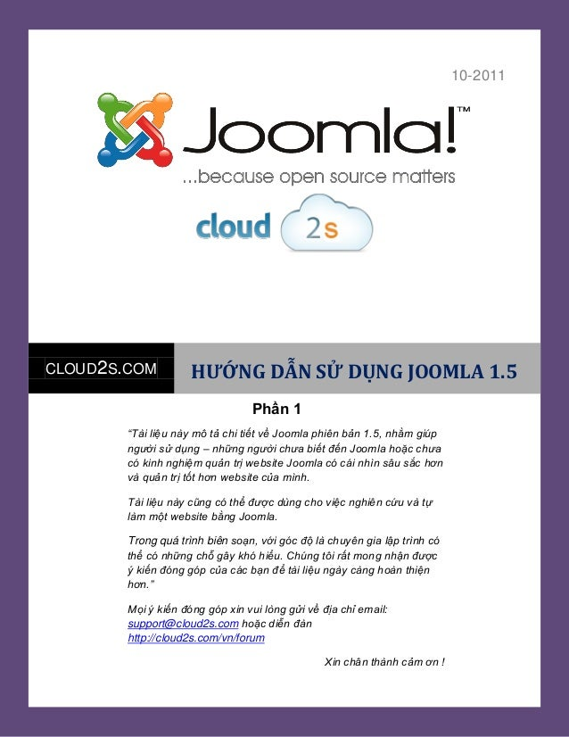 """Tàiđdjhjds [Year]10-2011CLOUD2S.COM HƯỚNG DẪN SỬ DỤNG JOOMLA 1.5""""Tài liệu này mô tả chi tiết về Joomla phiên bản 1.5, nhằm..."""