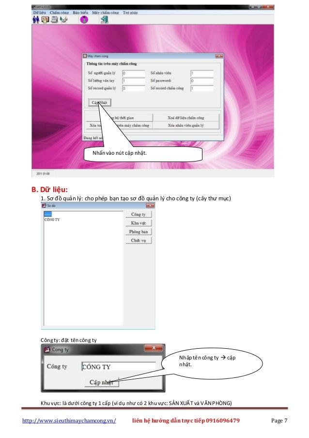 http://www.sieuthimaychamcong.vn/ liên hệ hướng dẫn trực tiếp 0916096479 Page 7 B. Dữ liệu: 1. Sơ đồ quản lý: cho phép bạn...