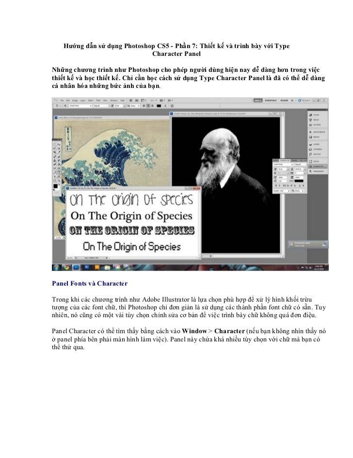 Hướng dẫn sử dụng Photoshop CS5 - Phần 7: Thiết kế và trình bày với Type                              Character PanelNhững...