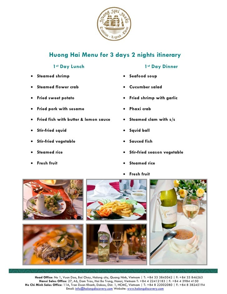 Huong Hai Menu for 3 days 2 nights itinerary                   1st Day Lunch                                              ...