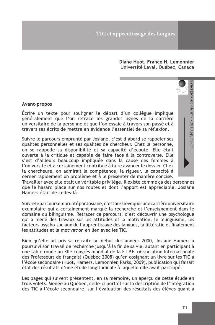 TIC et apprentissage des langues                                                 Diane Huot, France H. Lemonnier          ...