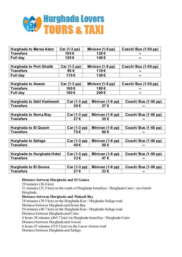 Hurghada airport transfers price list Slide 2