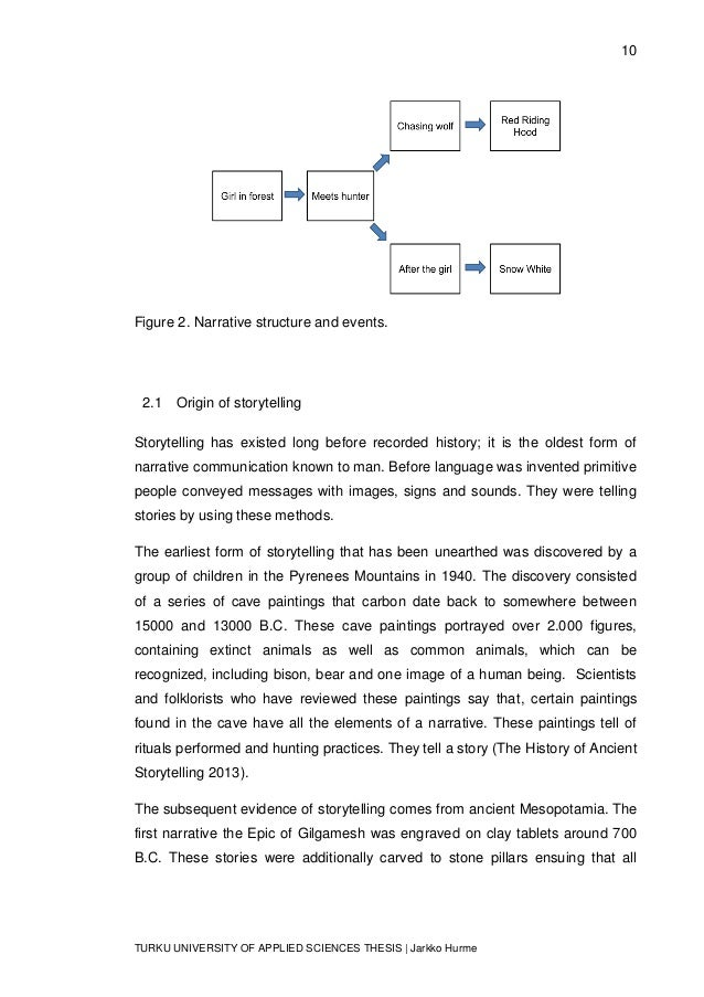 10 TURKU UNIVERSITY OF APPLIED SCIENCES THESIS | Jarkko Hurme Figure 2. Narrative structure and events. 2.1 Origin of stor...