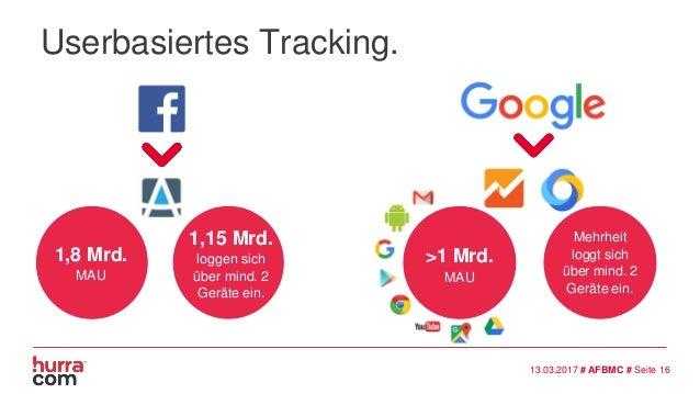 1,8 Mrd. MAU 1,15 Mrd. loggen sich über mind. 2 Geräte ein. Mehrheit loggt sich über mind. 2 Geräte ein. 13.03.2017 # AFBM...