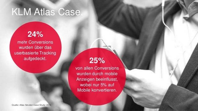 Quelle: Atlas Solution Case Study; 2016 KLM Atlas Case. 24% mehr Conversions wurden über das userbasierte Tracking aufgede...