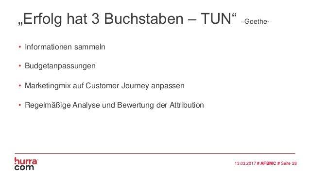 """""""Erfolg hat 3 Buchstaben – TUN"""" –Goethe- • Informationen sammeln 13.03.2017 # AFBMC # Seite 28 • Budgetanpassungen • Marke..."""
