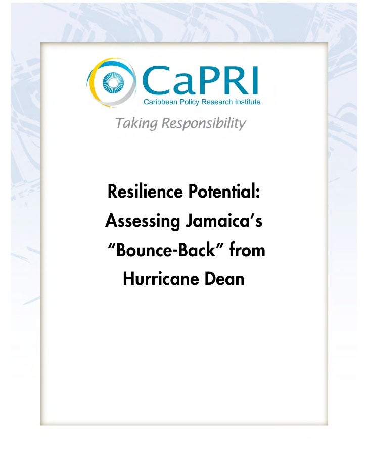 """Resilience Potential: Assessing Jamaica's """"Bounce-Back"""" from   Hurricane Dean"""
