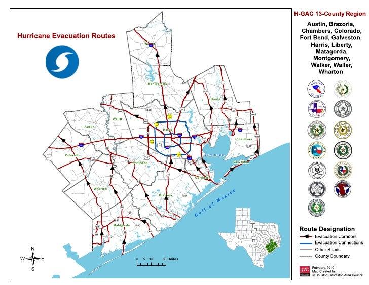 Hurricane Evacuation Routes Map