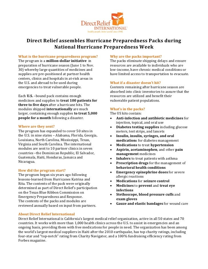 Direct Relief assembles Hurricane Preparedness Packs during                National Hurricane Preparedness WeekThe program...