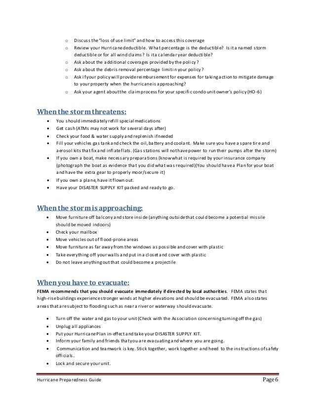 Calendar Year Hurricane Deductible : Hurricane preparedness guide rough draft before legal and