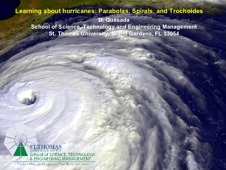Learning about hurricanes: Parabolas, Spirals, and Trochoides   D. Quesada School of Science, Technology and Engineering M...