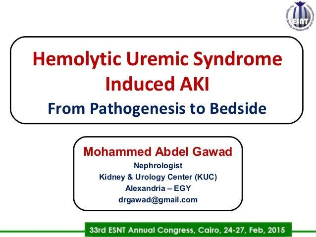 Hemolytic Uremic Syndrome Induced AKIh From Pathogenesis to Bedside Mohammed Abdel Gawad Nephrologist Kidney & Urology Cen...