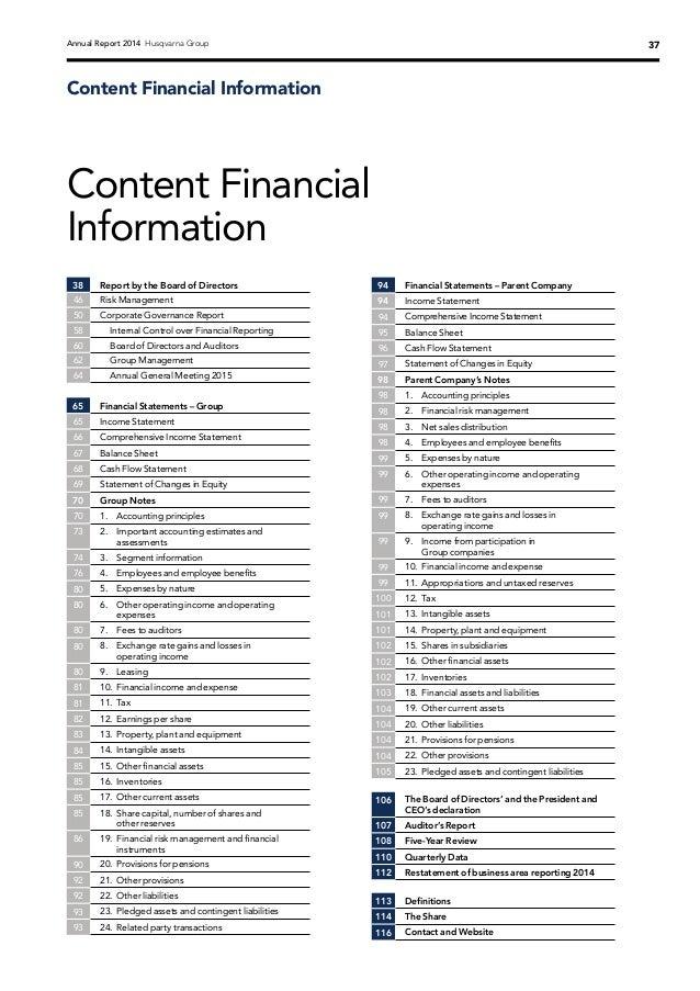 Husqvarna Group Annual Report 2014
