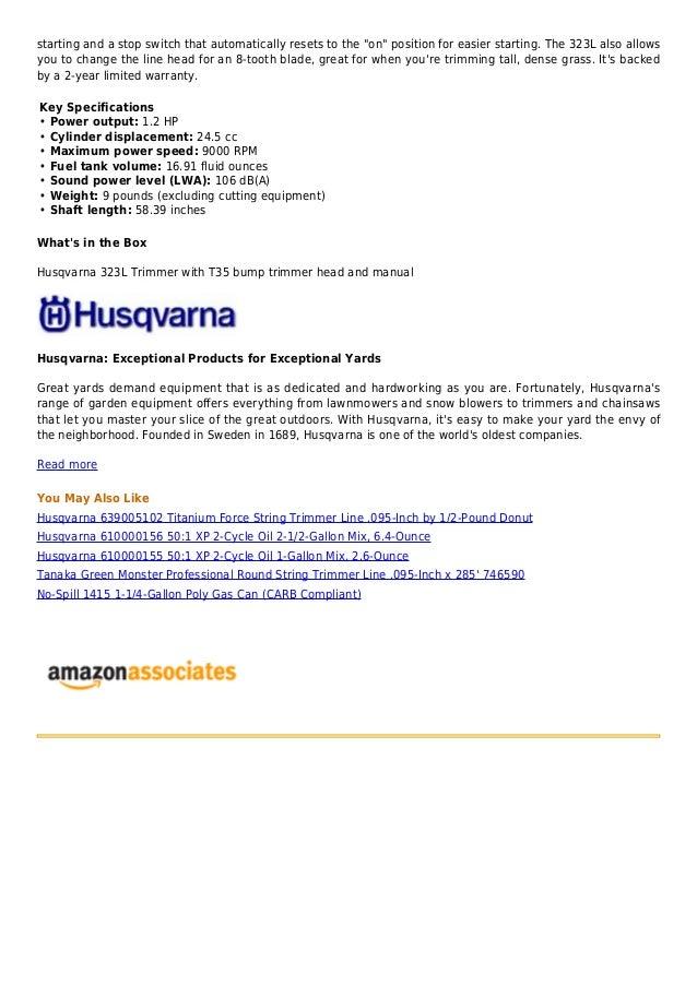 Husqvarna 323 l 24 5cc e tech 2-cycle gas powered straight
