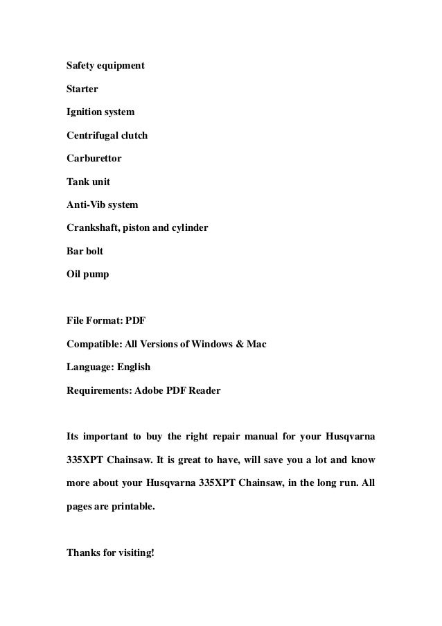 husqvarna 335 xpt chainsaw service repair workshop manual download rh slideshare net Husqvarna 235 Husqvarna 335
