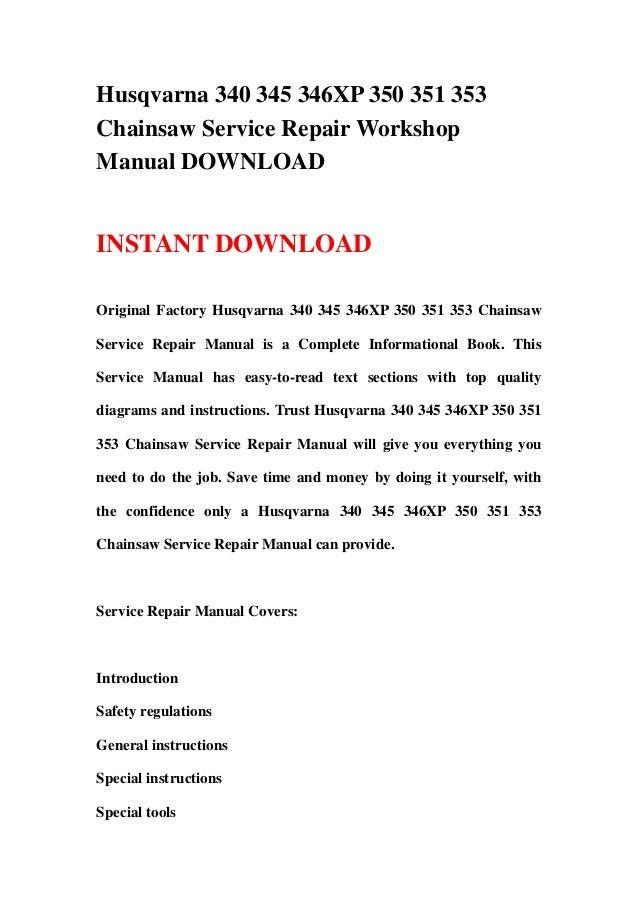 husqvarna chainsaw manuals 345