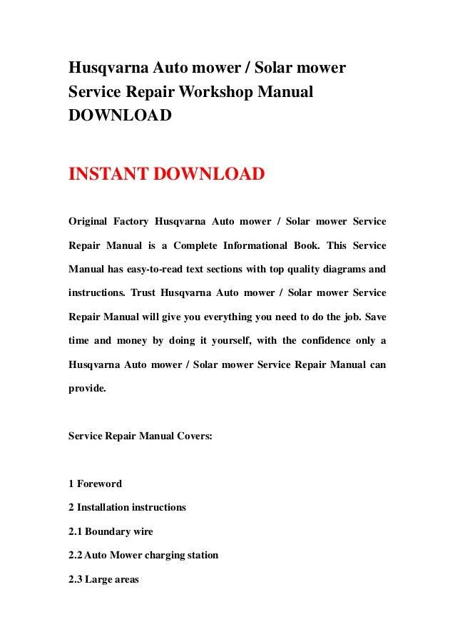 husqvarna solar mower service and repair manual