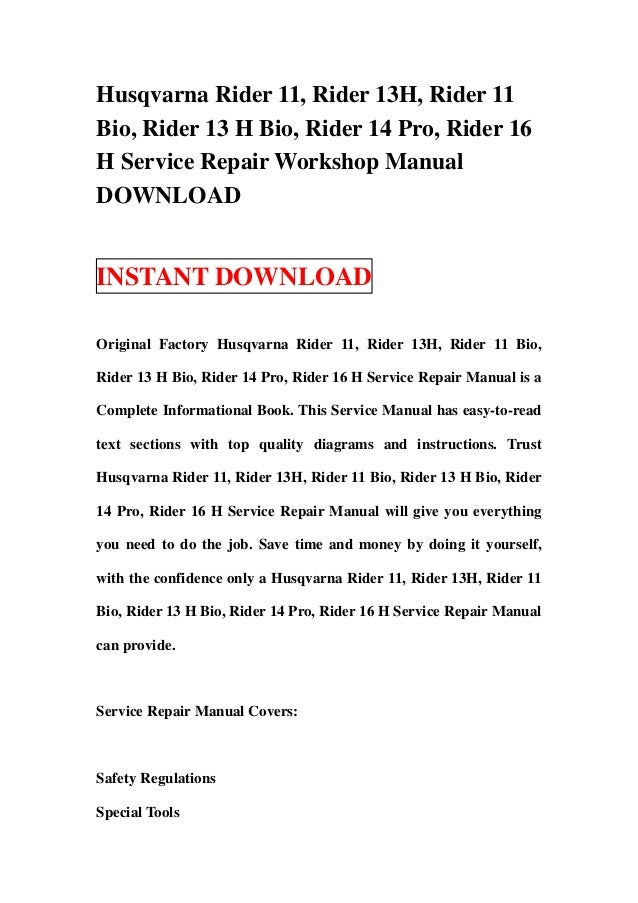 husqvarna rider 11 13 ride on mower workshop manual