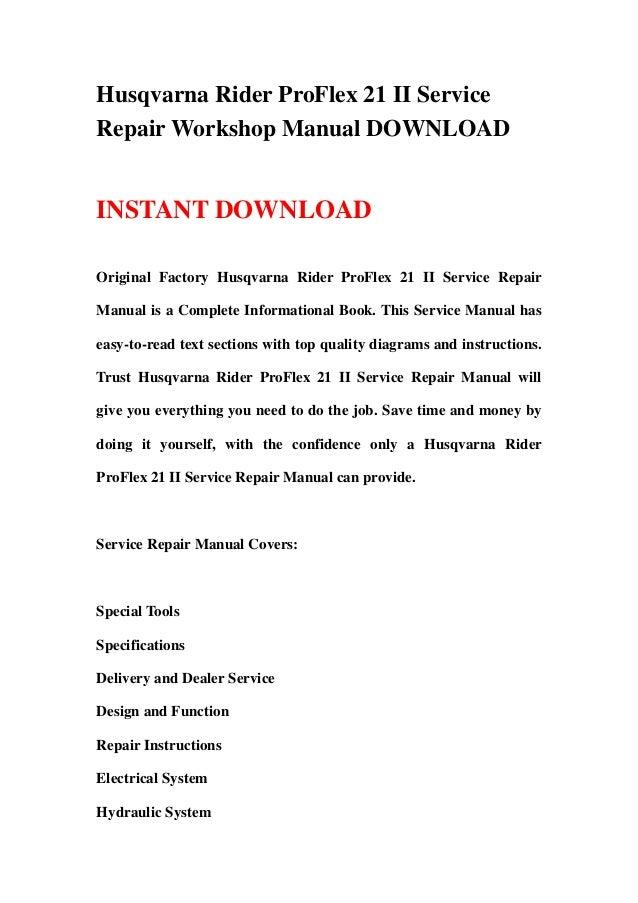 husqvarna rider proflex 21 ii workshop service repair manual