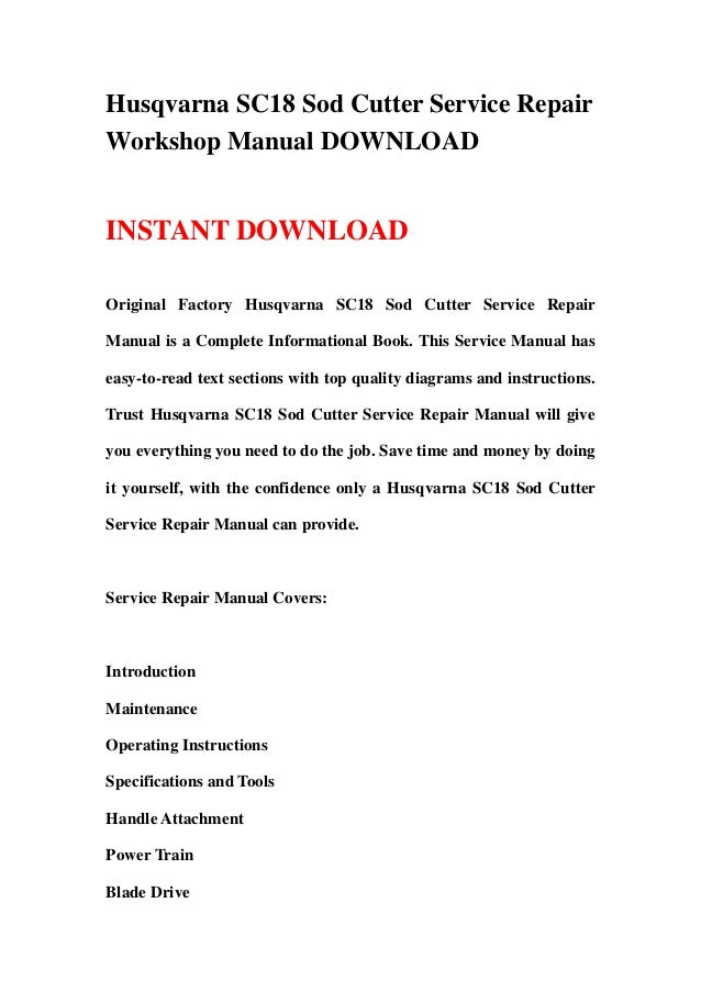 husqvarna sc18 sod cutter full service repair manual