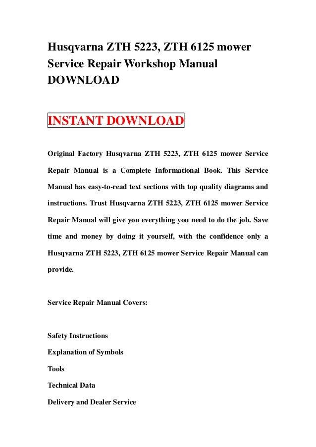 husqvarna zth 5223 and 6125 mower service and repair manual