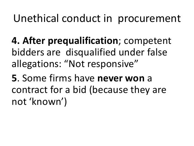unethical procument practices We partner with our suppliers to ensure a supply chain that is committed to the ethical sourcing of materials and products, is free from unethical business practices, and is respectful of human rights.