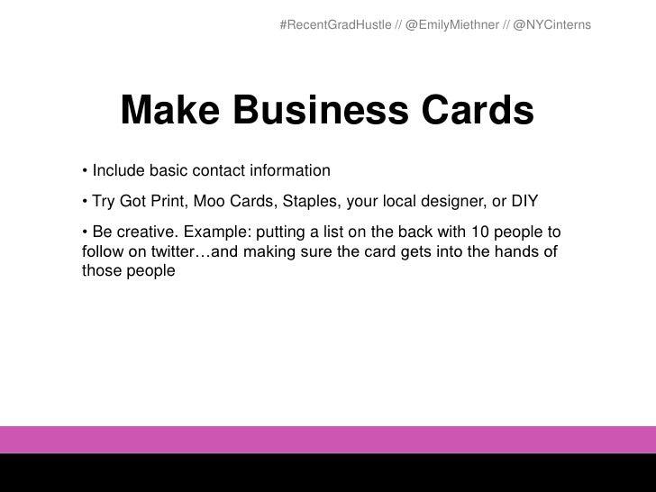 Hustle 101 networking for recent grads 11 recentgradhustle emilymiethner nycinterns make business cards colourmoves
