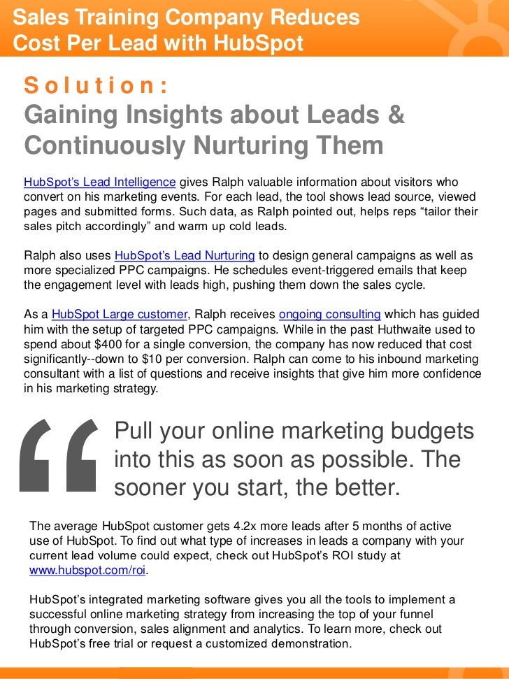 Sales Training Company Reduces Cost Per Lead with HubSpot Slide 2