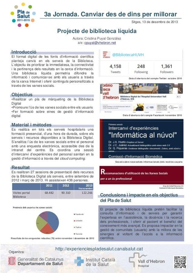 3a Jornada. Canviar des de dins per millorar Sitges, 13 de desembre de 2013  Projecte de biblioteca líquida Autora: Cristi...