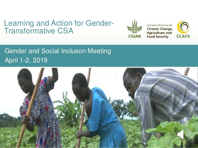Gender and Social Incluson Meeting April 1-2, 2019 Learning and Action for Gender- Transformative CSA
