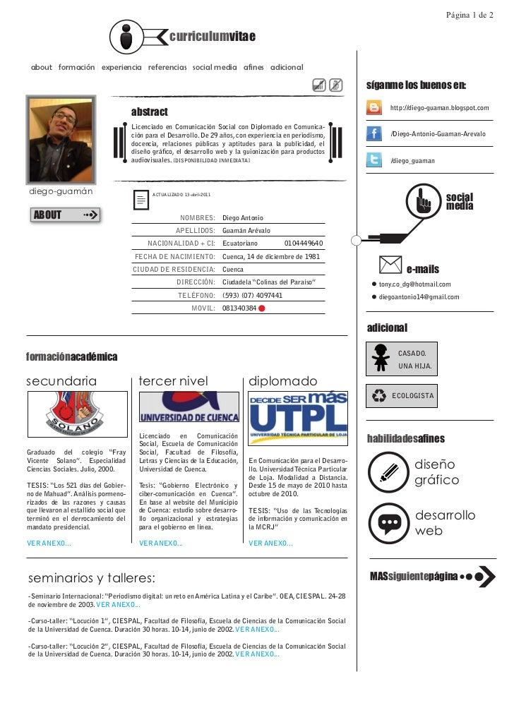 Página 1 de 2                                                     curriculumvitae about formación experiencia referencias ...