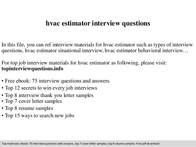 hvac estimator interview questions in this file you can ref interview materials for hvac estimator