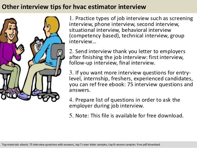 free pdf download 11 other interview tips for hvac estimator. Resume Example. Resume CV Cover Letter