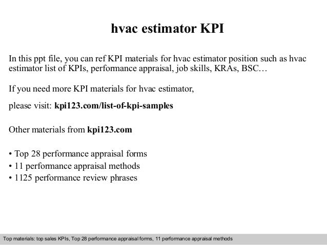 hvac estimator kpi in this ppt file you can ref kpi materials for hvac estimator - Hvac Estimator