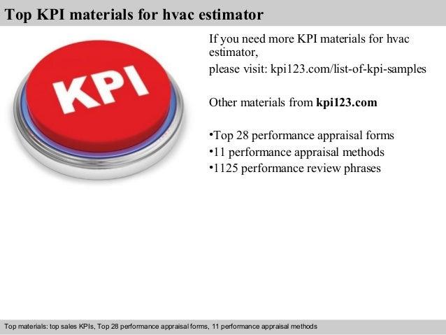 7 top kpi materials for hvac estimator. Resume Example. Resume CV Cover Letter