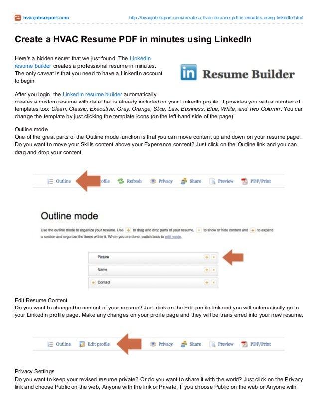 Create A Hvac Resume In Minutes Using Linkedin