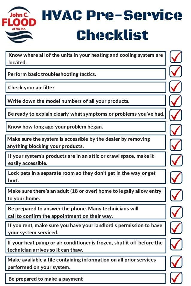 Hvac Pre Service Checklist