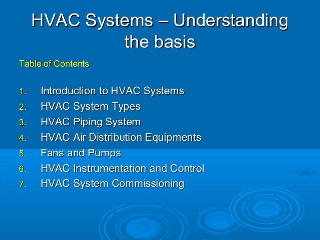HVAC Systems – UnderstandingHVAC Systems – Understanding the basisthe basis Table of ContentsTable of Contents 1.1. Introd...