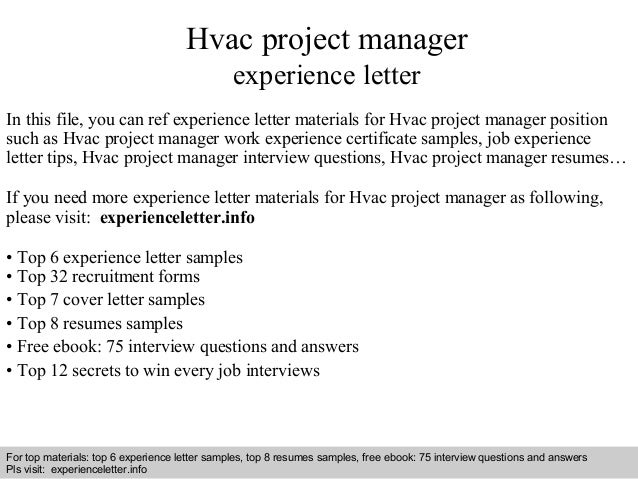 Hvac project manager experience letter 1 638gcb1408881017 interview questions and answers free download pdf and ppt file hvac project manager experience spiritdancerdesigns Gallery