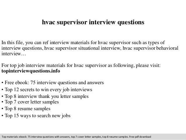 Hvac supervisor interview questions