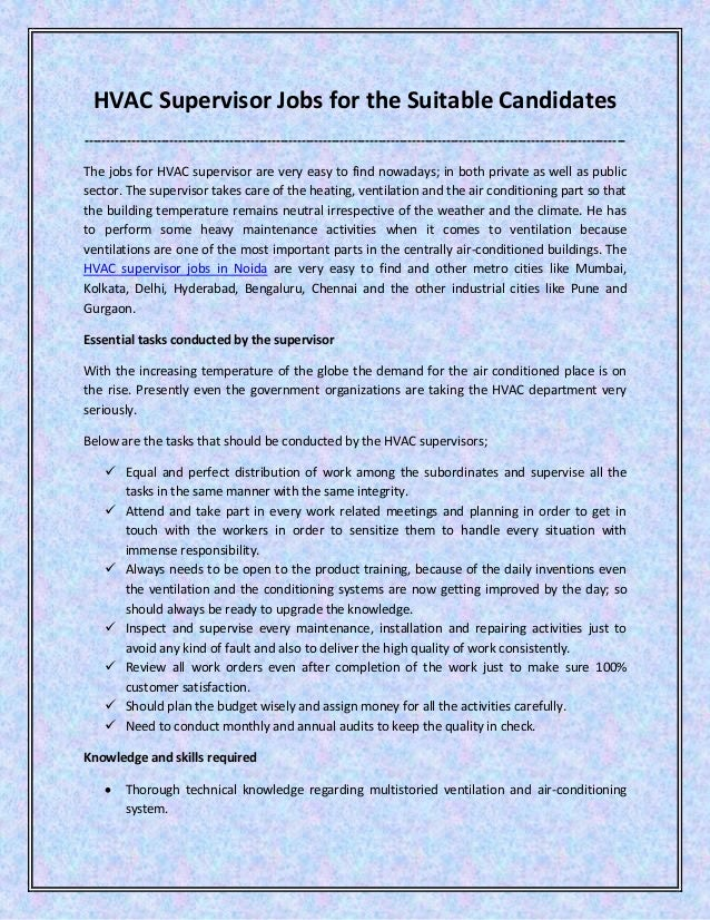 HVAC supervisor jobs for the suitable candidates