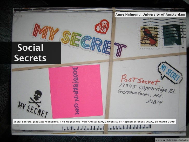Anne Helmond, University of Amsterdam      Social Secrets     Social Secrets graduate workshop, The Hogeschool van Amsterd...